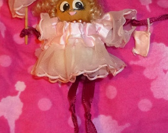 Spool Doll With Pink Umbrella