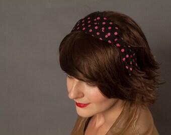 Rockabilly Headband - Black with Pink Polka Dots