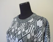 Vintage Black and White Patterned Acrylic Sweater 1980s