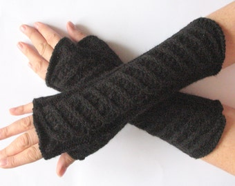 "Long Fingerless Gloves Mittens Black 11"" Arm Warmers, Acrylic"