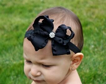 Baby Bow Headband - Black Bow Headband - Ruffle Bow Headband