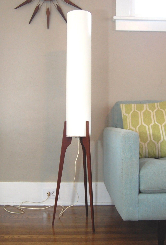 mid century modern tripod teak floor lamp. Black Bedroom Furniture Sets. Home Design Ideas