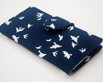 Navy Clutch Wallet, Women's Fabric Vegan Wallet, Flying Birds in Navy