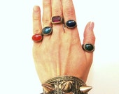 Vintage Kuchi Ring Gypsy Ring Tribal Ring Steampunk Ring Gypsy Jewelry Tribal Belly Dance Ethnic Jewelry Red Blue Green Yellow Purple