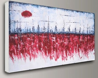 red painting, white Abstract acrylic painting large canvas red white home office interior bedroom decor modern Oil palette knife Visi custom