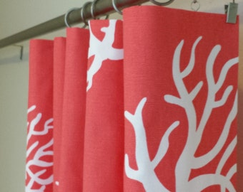 """Curtain Panels 24"""" or 50"""" x 63, 84, 90, 96 or 108L in Premier Prints Coral"""