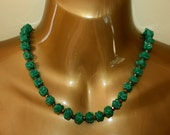 Antique Necklace Green Czech Glass Beads 1920s 1930s