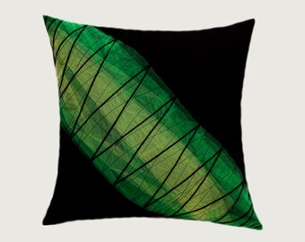 """Decorative Pillow case,  Abstract design Throw pillow cover, Black, Green colors, fits 18""""x18"""" insert, Toss pillow case, Cushion case"""