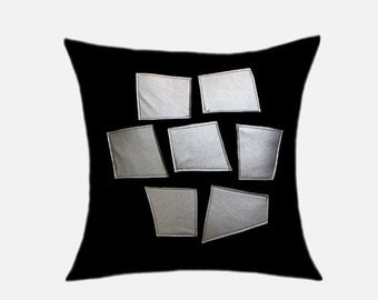 "Decorative Pillow Case, Home Decor, Black Wool Throw pillow case with Silver faux Leather decoration, Fits 18"" x18"" insert, cushion case"