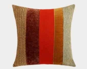 "Decorative pillow case, Orange, Beige, Brown color fabrics, Throw pillow case, fits 18"" x 18"" insert, Cushion case, Toss case"