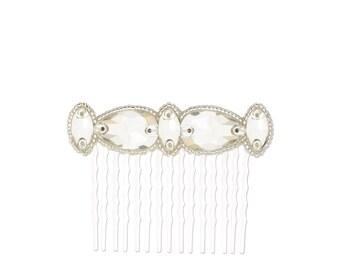 Sabine deco silver crystal wedding hair comb