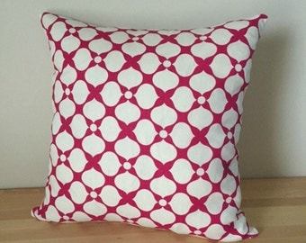 Decorative Geometric Throw Pillow Cover 18x18  Jonathan Adler Santa Rosa Raspberry Pink and White