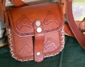 Girl's Leather Purse Horses Hand Carved Hand Made Vintage