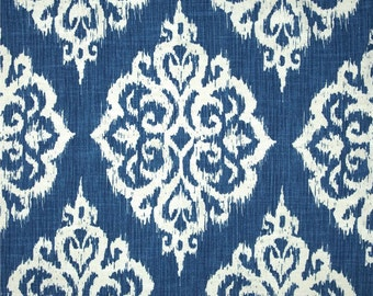 Two 26 x 26 Designer Decorative Pillow Covers Euro Shams - Ikat Large Damask - Blue