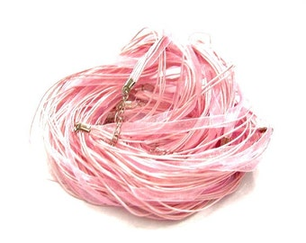 6 - PINK  Ribbon and Wax cord Necklaces, 17 inch Blank Ribbon necklaces