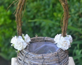 Small Rustic natural grapevine flower girl basket decorated with mulberry paper flowers