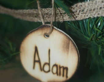 Personalized Wood Engraved Ornaments With Names