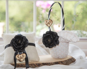 Set of Black Ring Bearer Pillow and White flower girl basket you pick the color of ribbon and flower plus initials