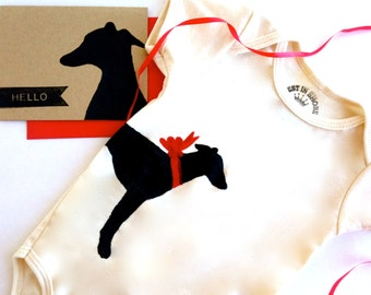 Greyhound Baby Bodysuit Romper Organic Italian Greyhound Infant Clothes % to ANIMAL RESCUE Whippet ECO Friendly Card Clothing 3-6 mo 9-12 mo