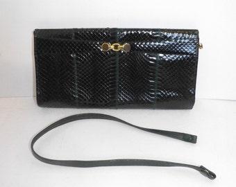 Vintage real dark emerald green snakeskin leather clutch handbag or shoulder bag by Jane Shilton