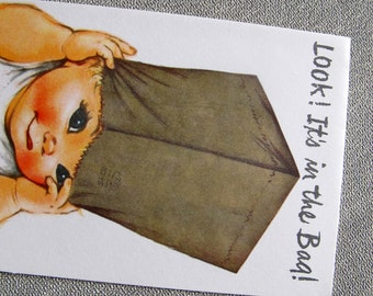 Charlot Byj It's in the bag Get well card / humorous baby get well card / 1940's small talk get well card
