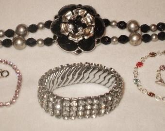 4 Amazing wearable Vintage Rhinestone Bracelets, 1 signed Empire