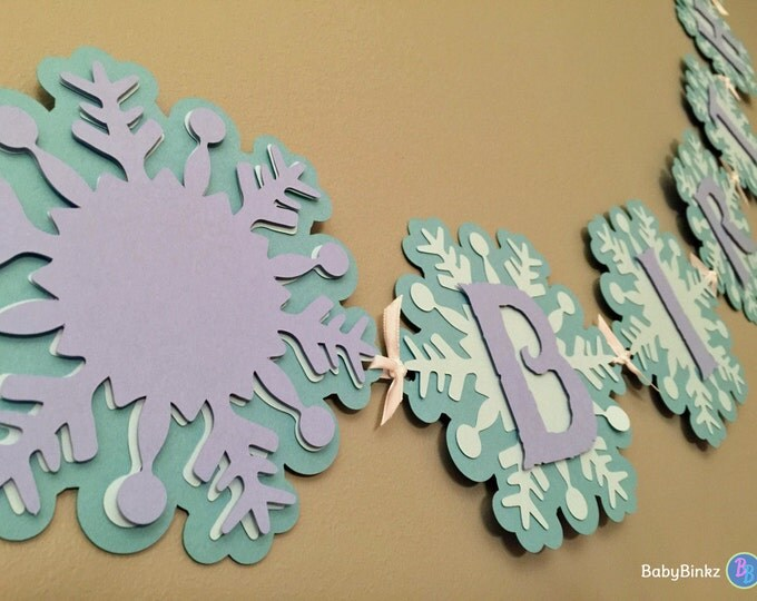 Frozen Inspired Winter Wonderland Banner - Happy Birthday Snowflake Banner aqua purple lilac die cut custom ribbon disney inspired