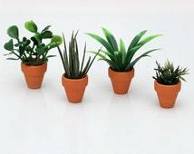 1:6 scale Plants with terracotta pot for OOAK Dollhouse or Diorama (Blythe, Barbie, 12'' Fashion dolls, Bratz, Momoko)