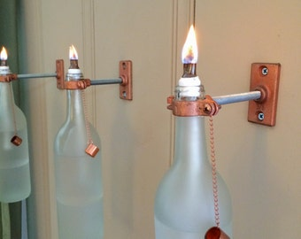 Indoor Hanging Wall Lamps : 4 Blue Wine Bottle Oil Lamps INDOOR Wall by GreatBottlesofFire