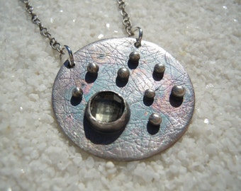 """Handcrafted Silver Metalwork Circle and Quartz Necklace Jewelry with 18"""" silver chain"""
