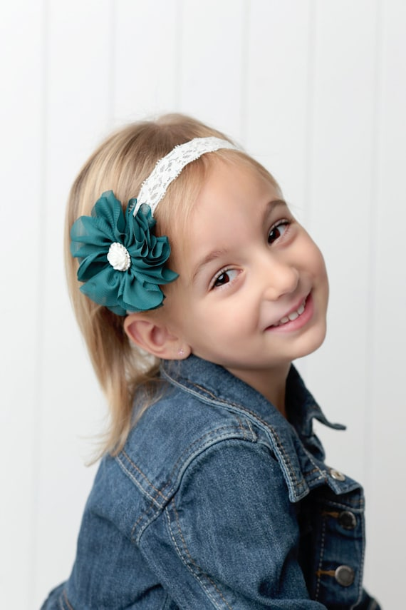 Teal Flower on Ivory Soft Stretch Lace Elastic or Alligator Clip with a rose and rhinestone center by Lil Miss Sweet Pea