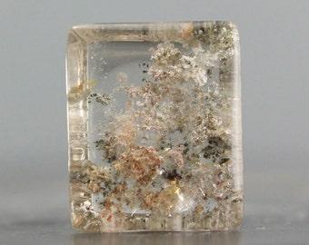 SALE - Phantom Quartz Cabochon, Lodolite Stone, Garden Quartz Gemstone, Mossy Gemstone, Unisex Jewelry, Leather Necklace Centerpiece (C8507)