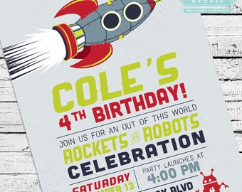 Retro Rockets & Robots Outer Space Invitation + Party Pack
