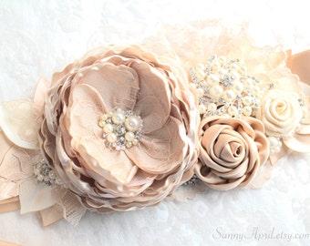 "Bridal Champagne Beige Blush Beaded Sash ""Jane""/ Wedding Ribbon Sash/ Handmade Accessory"