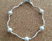 PEARL & Sterling Silver Bracelet - White Swarovski Crystal Pearls - SS Tube Bead - Beach - Bridal - Wedding - Any Size - USA Made