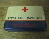 First Aid Travel Kit Johnson & Johnson Tin. Vintage red cross medical tin