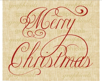 Merry Christmas Red Green calligraphy instant digital download image for paper cards iron on fabric transfer burlap decoupage tags No. 2170