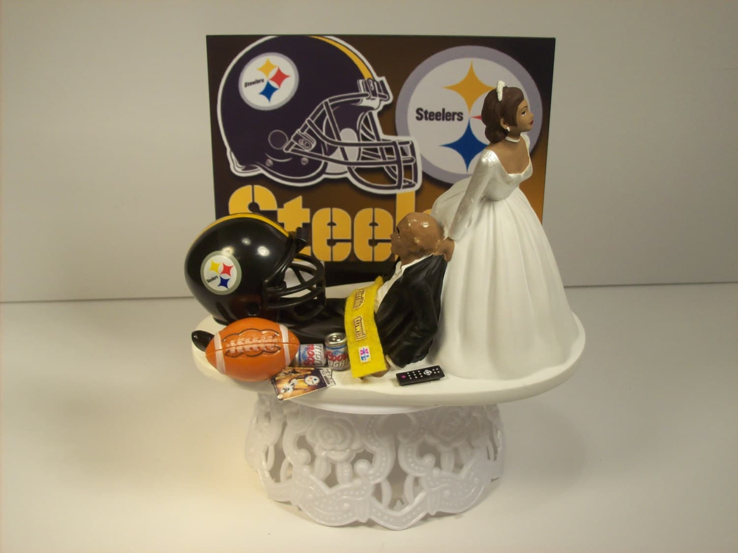 Football PITTSBURGH STEELERS African American Hispanic Couple