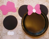Minnie Mouse DIY Craft Birthday Plate Black Circle Hot Pink Bows Shapes Die Cuts DIY Kids Birthday Party Cricut Circle Shapes