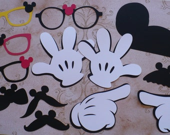 DIY Mickey Mouse Black Mustache Ears Gloves Glasses Bow Tie Cardstock for Crafts Photo Booth Props Birthday Party Weddings Props DIY