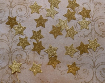 24 Gold Glitter Stars Shapes for Cupcake Picks Confetti DIY Crafts Tags Kids Birthday Party Crafts