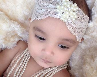 Baby Girl fancy Cream -Ivory pearl rhinestone lace headband, ,Baby Headbands.Girl Headbands.