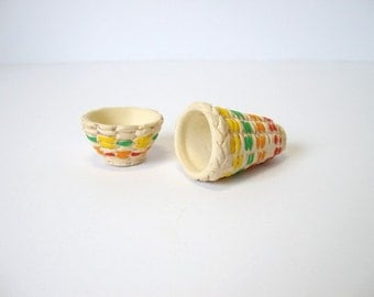 Baskets, Ceramic miniature Indian baskets, set of 2