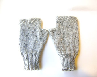 Hand Knit Fingerless Gloves in Oatmeal Tweed Wool, Women's Hand Knit Gloves