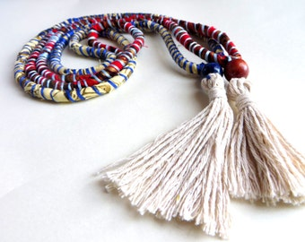 Set of 2 Patchwork Tassel Necklace Cotton Wood Scrap Twine Long Boho Statement Necklace Red/Blue/off-White