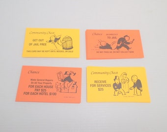 16 Chance and 16 Community Vintage Monopoly Cards