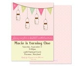 MASON JAR Invitation, Pink-Shabby Chic, Girls Birthday, Digital or Professionally Printed Invitation