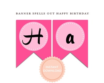 INSTANT DOWNLOAD, TUTUS Happy Birthday Banner - Pink and Black Polka - Zebra - Ballet Party