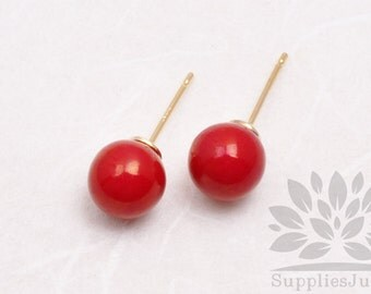 E300-01-RD// HIPS Red 8mm Round 925 Sterling Silver Earring Post, 4 pcs