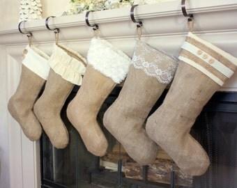 The Classic Cream Line- Set of Five (5) Burlap Stockings, Christmas Burlap Stockings